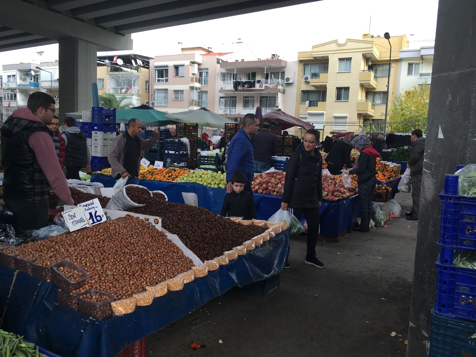 LeeZe visits Izmir Sunday farmer's market. Nuts and popcorn with citrus in the background.