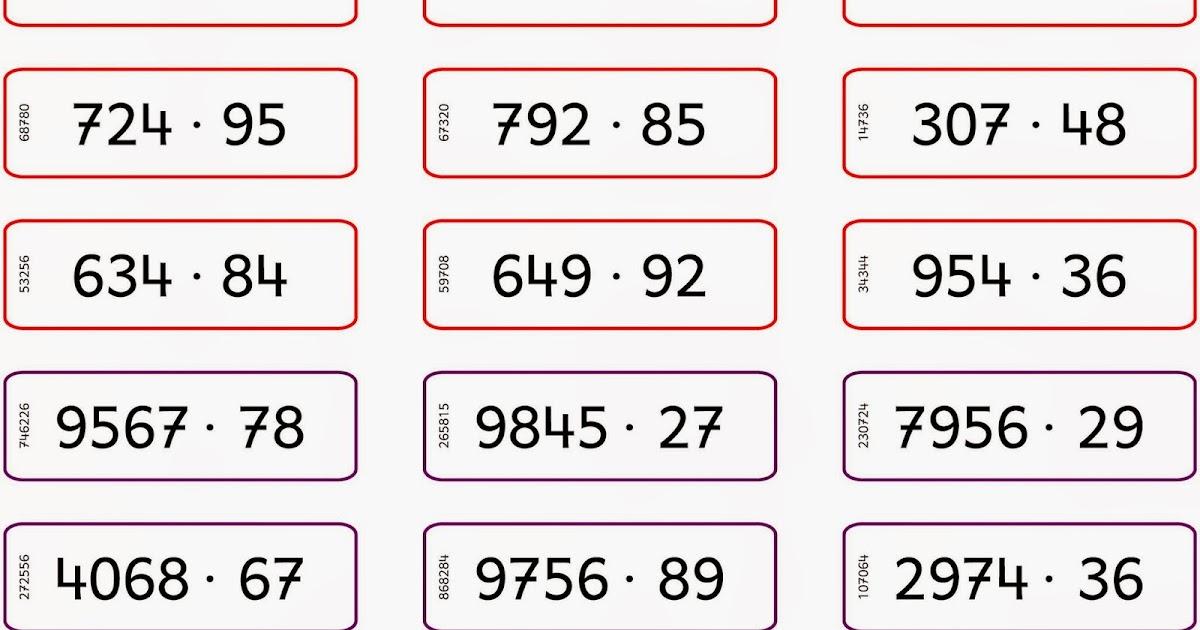 Lernstübchen: schriftliche Multiplikation - Aufgabenkärtchen