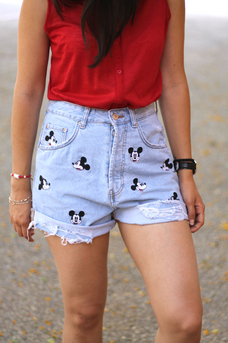 Shorts Vaqueros Mickey Mouse