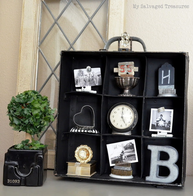 turn an old carrying case into a one-of-a-kind display shelf