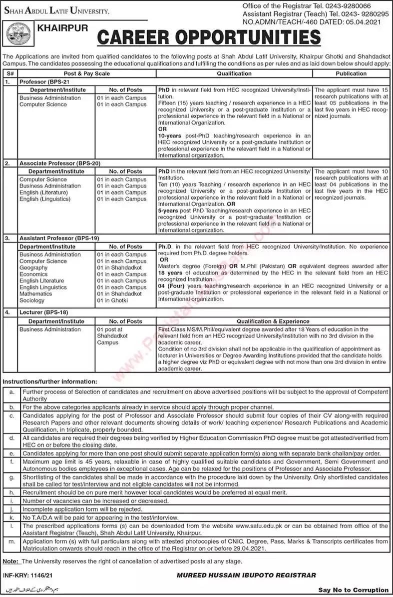 New Jobs in Pakistan Shah Abdul Latif University Jobs 2021 | Download Application Form