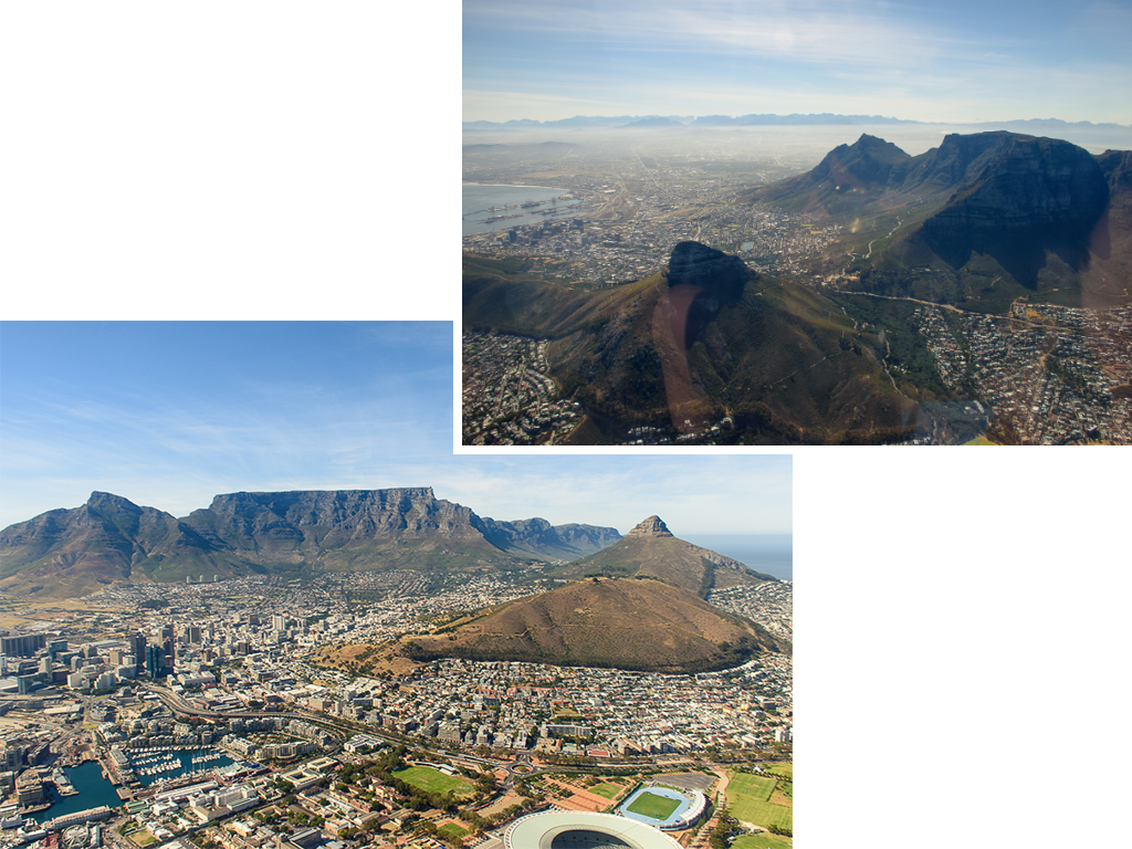 aerial view, helicopter ride, table mountain in cape town south africa