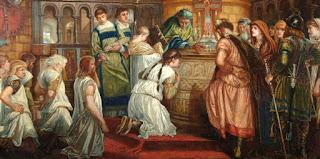 Guthrum siendo bautizado ante Alfredo el Grande