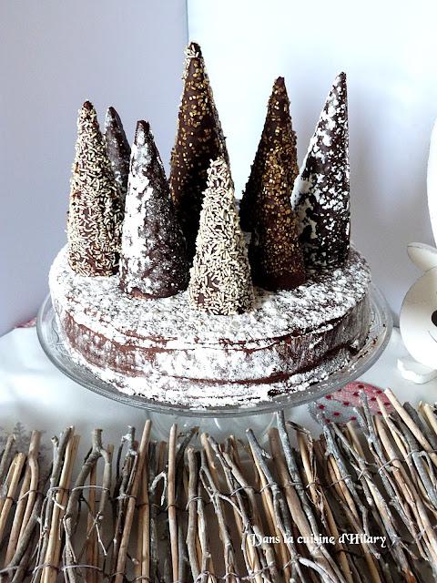 Gâteau au chocolat comme une forêt enchantée aux saveurs de Noël (épices et orange)