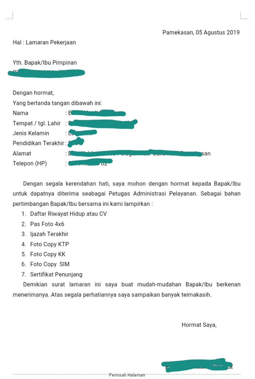 Daftar Berkas Untuk Melamar Pekerjaan dan Contoh Curriculum Vitae (CV)