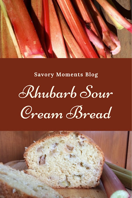 Rhubarb stalks and a loaf of baked sour cream rhubarb bread.