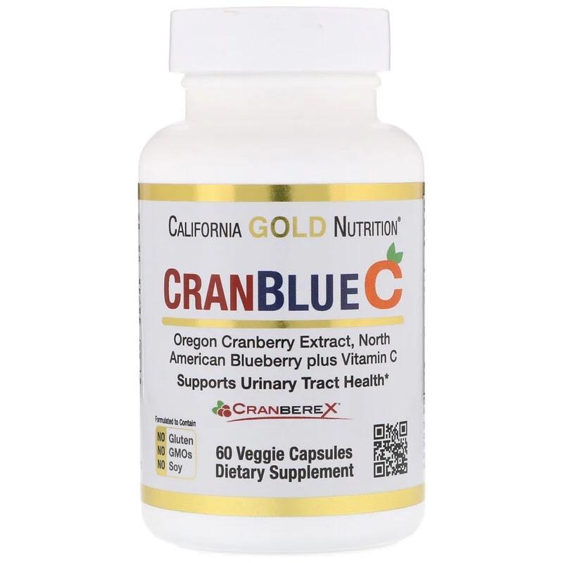 California Gold Nutrition, CranBlueC, клюква и голубика с витамином C, 60 растительных капсул