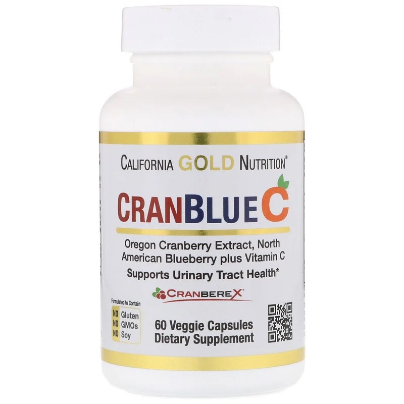 California Gold Nutrition, CranBlueC, клюква, голубика, витамин С, 60 растительных капсул