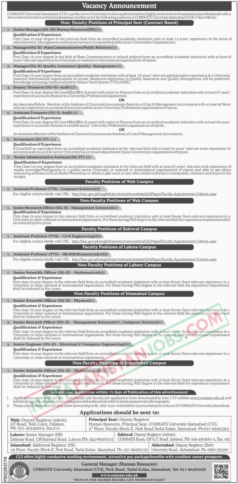 Latest Vacancies Announced in COMSATS University Islamabad 7 November 2018 - Naya Pakistan