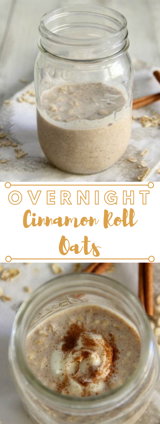 OVERNIGHT CINNAMON ROLL OATS #roll #drink #cinnamon #party #tea
