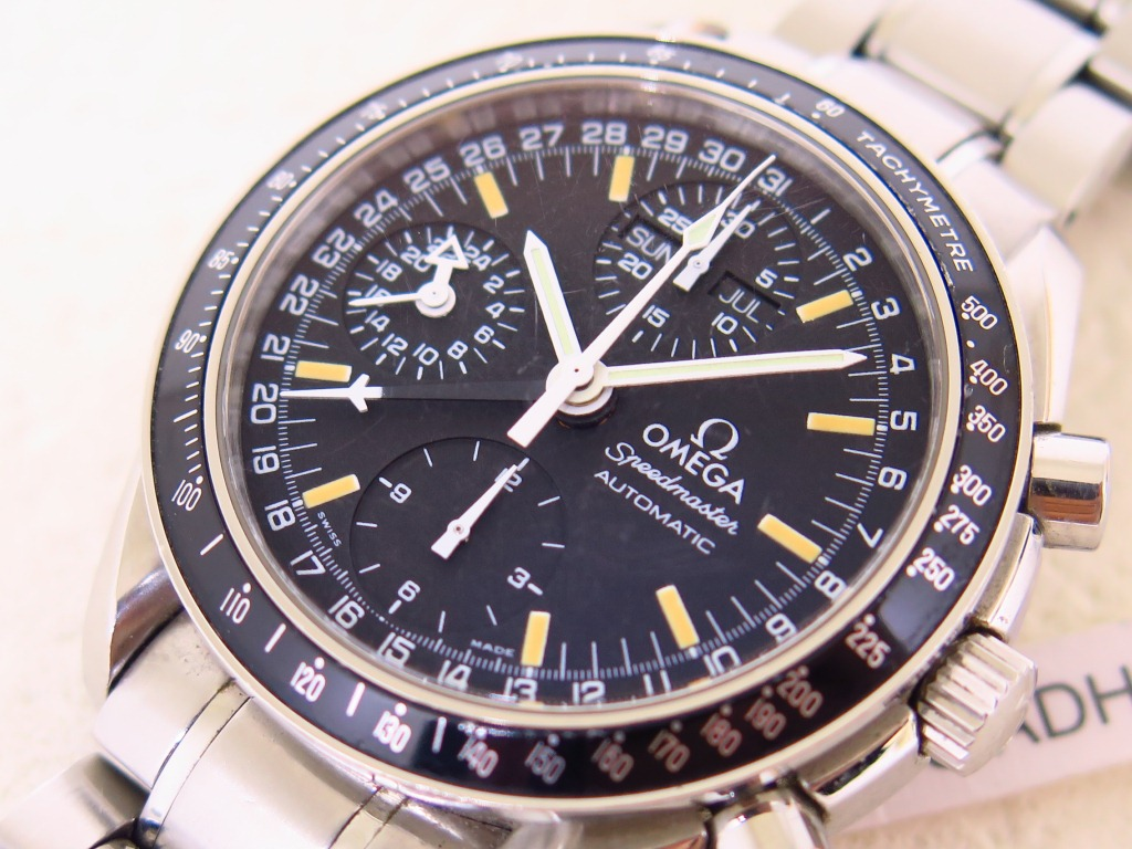 OMEGA SPEEDMASTER CHRONOGRAPH BLACK DIAL PATINE INDEX - POINTER DATE - 24 HOURS INDICATOR -DAY DATE