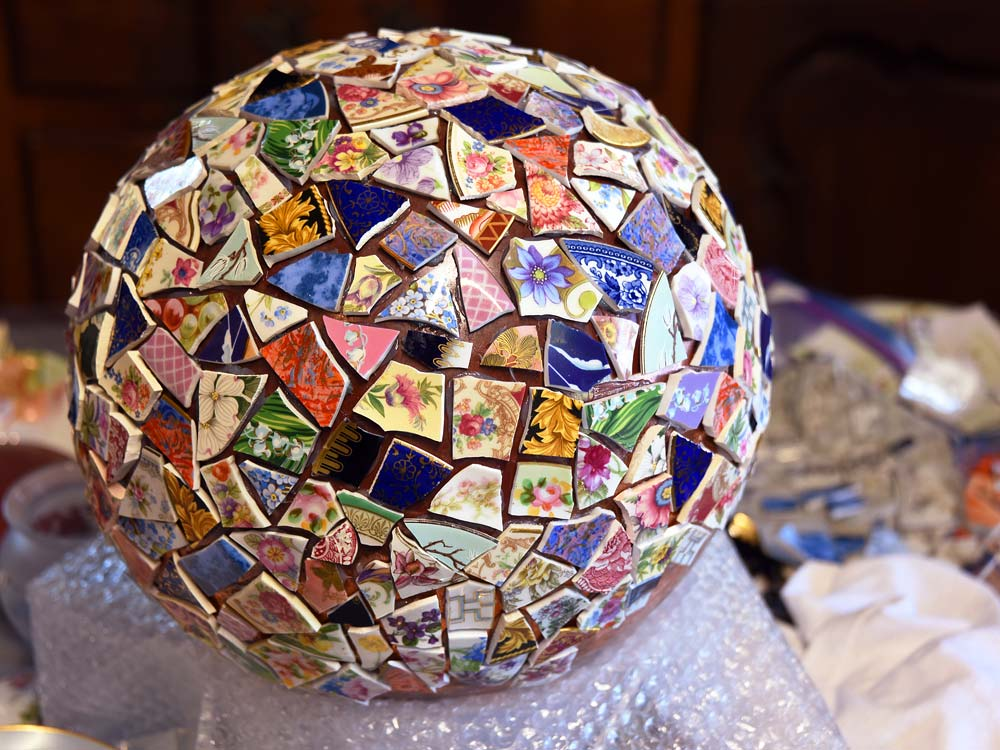 Mosaic Ball in process