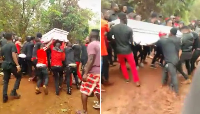 Dead Body Refuses to be buried as over 10 men struggle to carry it (Video)