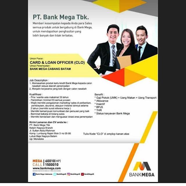 Loker Bank Mega Batam
