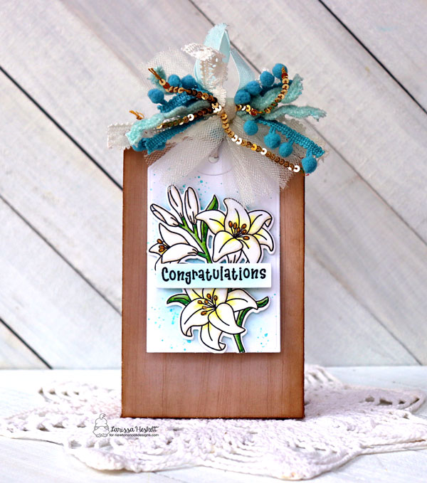 Congratulations Gift Bag Tag by Larissa Heskett | Easter Lily Stamp Set, Bitty Bibs Stamp Set and Tags Times Two Die Set by Newton's Nook Designs #newtonsnook #handmade