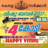 """Kerala Lottery Result; 24-05-2017 """"Vishu Bumper Lottery Results"""" BR-55"""