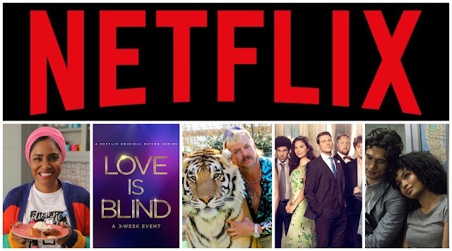 collage - netflix logo, nadiya's time to eat, love is blind, tiger king, love wedding repeat, the sun is also a star