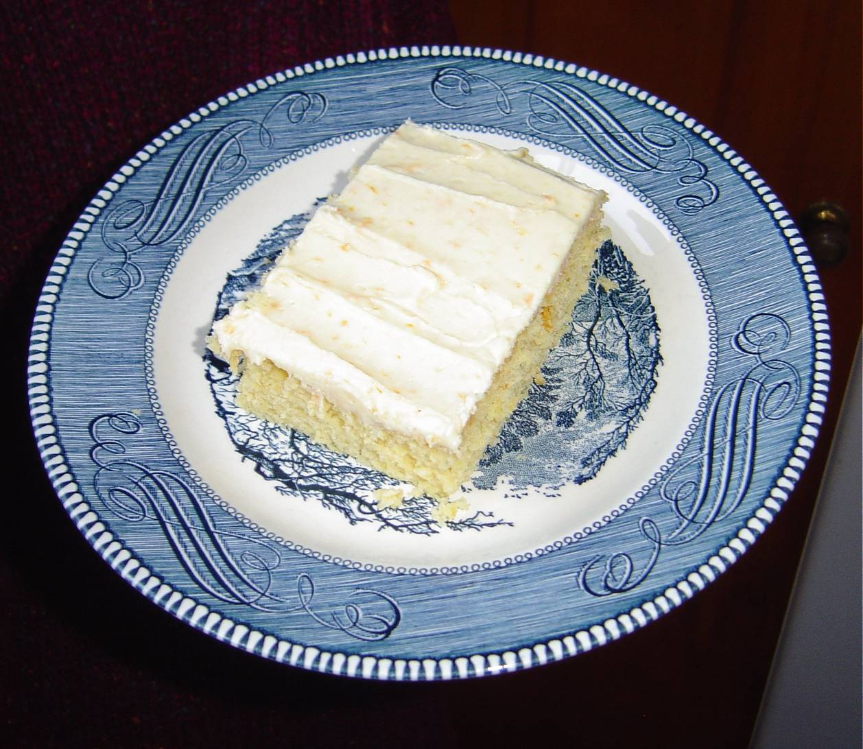 A Piece of My Special Orange Cake With Creamy Orange Icing