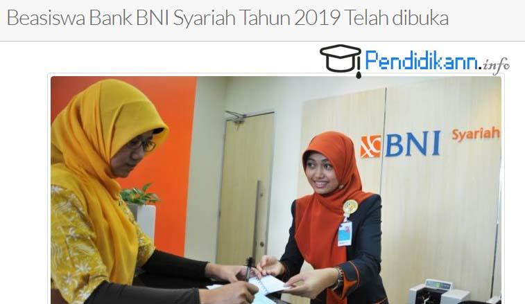Informasi Pengumuman Beasiswa BNI Syariah Syiah Kuala Aceh