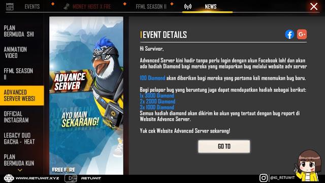 Advance Server September 2020 Tidak Perlu Login FB