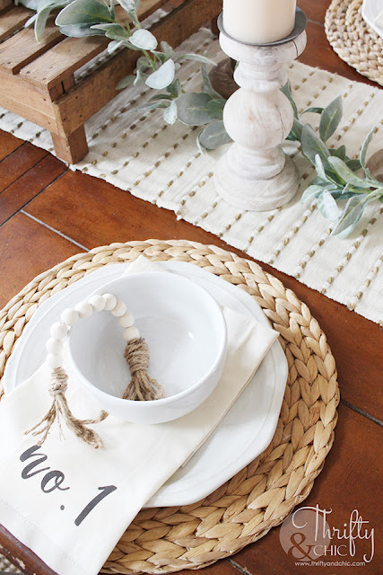 place setting on wood table
