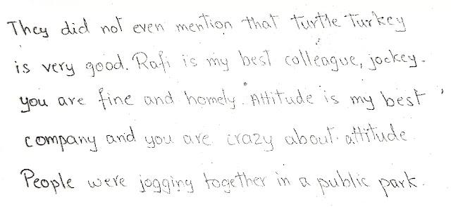 Handwriting Analysis - Emotionally Withdrawn - sample - apdaga