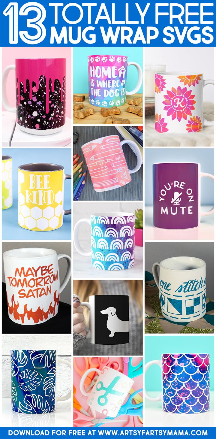 13 Free Mug Wrap SVG Cut Files