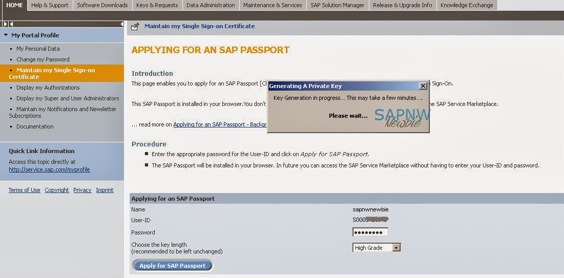 Apply for SAP Passport