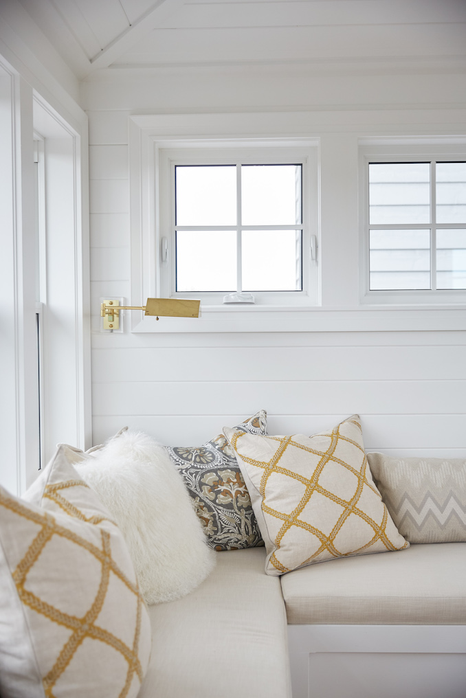 Built-in sofa. Shop the Room! Sarah Richardson {Belvedere Rooftop Gallery} #builtin #cottagestyle #SarahRichardson
