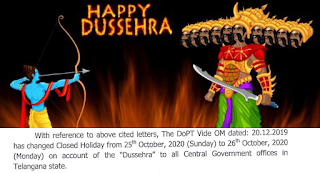 Change of Closed Holiday to be observed by the Central Government offices in Telangana state on Dussehra festival 2020