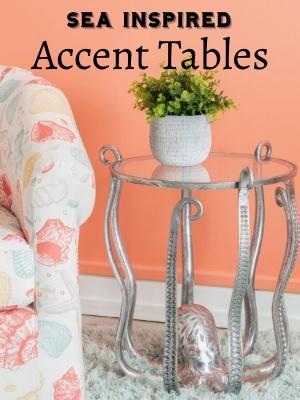 Metallic Coastal Accent Tables Glass Top