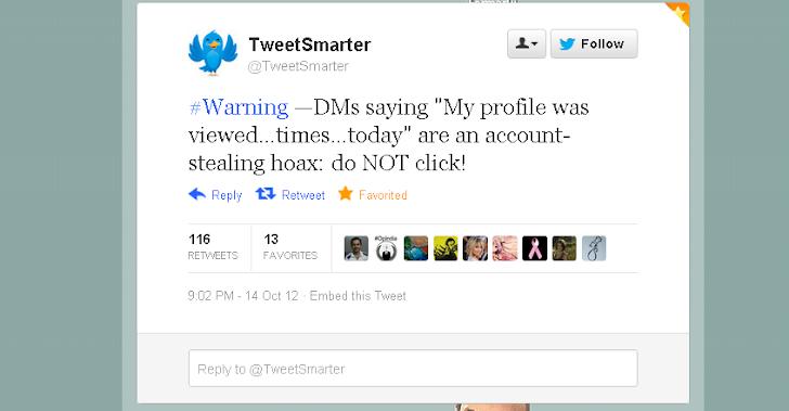 Twitter warning, Do not click DM saying