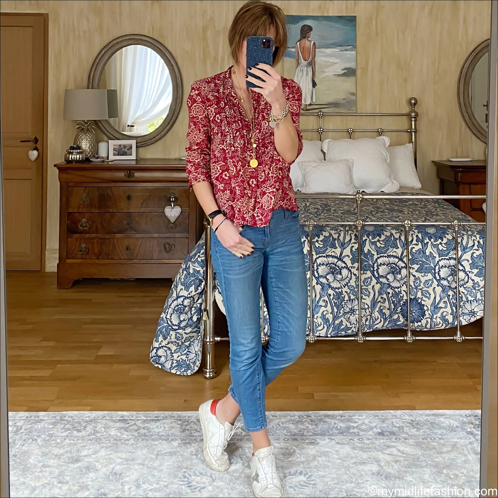 My midlife fashion, Isabel Marant Etoile cotton patterned blouse, j crew 8 inch toothpick jeans, golden goose superstar low top leather trainers, Ashiana boho necklace