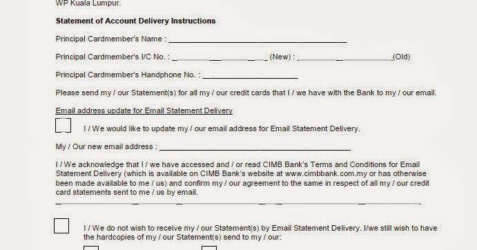 CIMB credit card Statement of Account Delivery Instructions form - credit card statement template