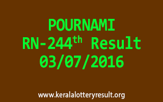 POURNAMI Lottery RN 244 Results 3-7-2016