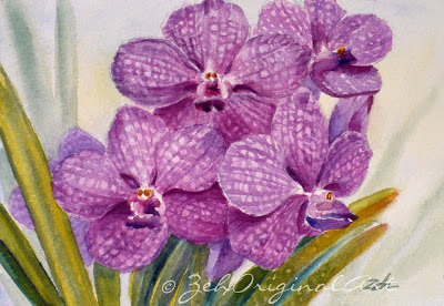Tropical flowers orchid painting