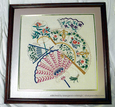 Vintage commercial crewel kit depicting colourful embroidered fans
