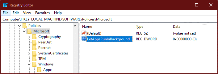 Sử dụng Registry để tắt ứng dụng chạy ngầm trên Windows 10