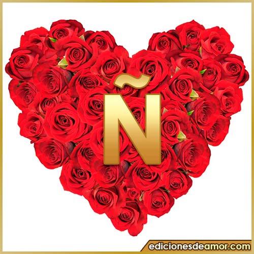corazón de rosas con letra Ñ
