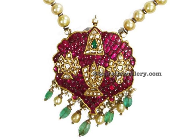 Shanku Chakra Ruby Pendant by Karni Jewellers
