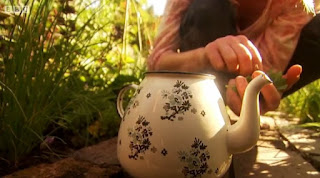 Putting mint leaves into a teapot