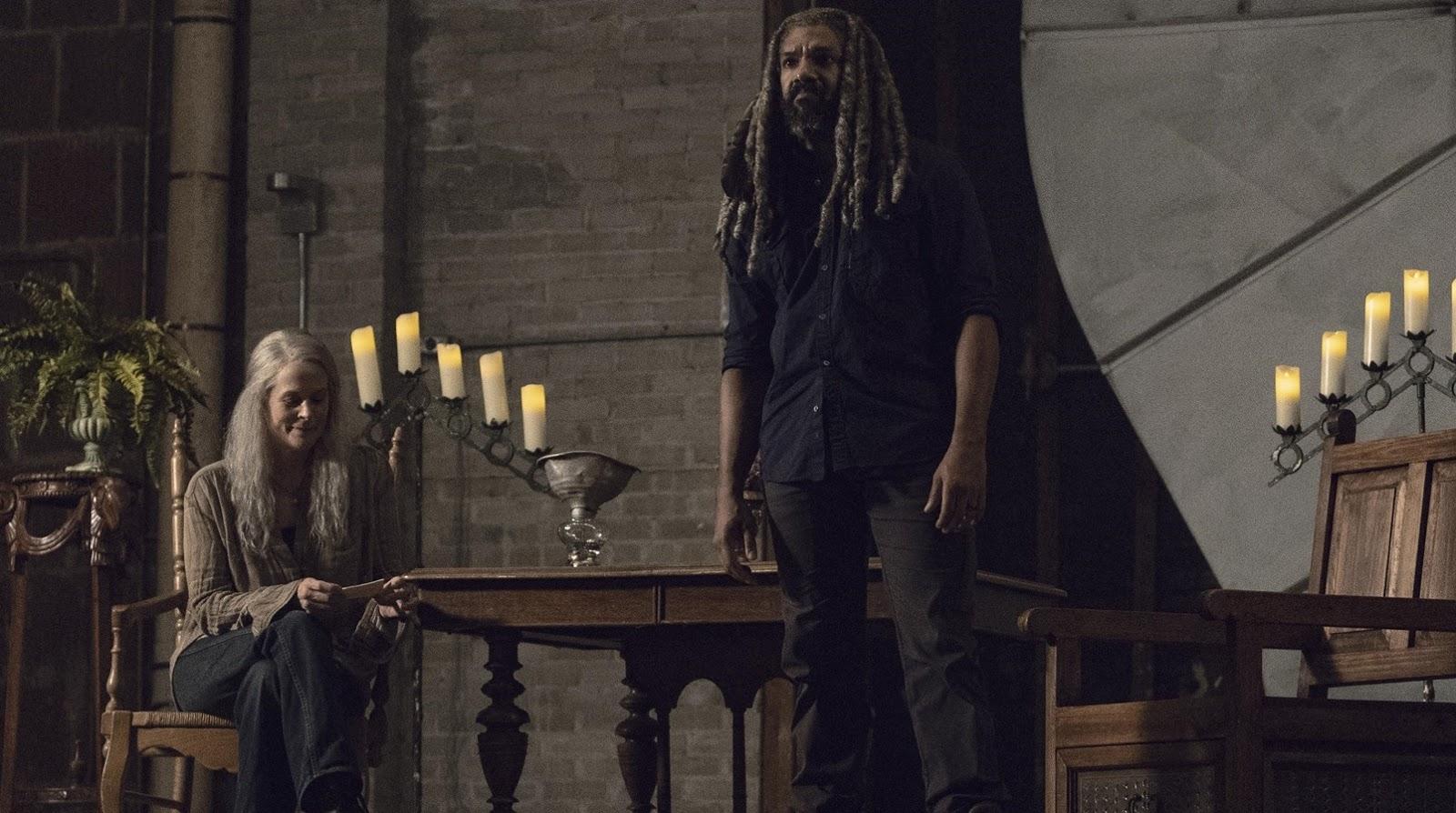 Ezekiel y Carol, en el episodio 9x13 Chokepoint de The Walking Dead