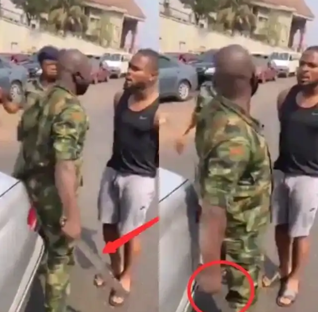 After This Army Officer Slapped a Nigerian International Footballer, See What He Did (Reactions and Video)