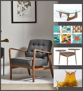 collage of midcentury interior design elements chair, tables, vases and patterned cushsions