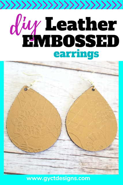 Follow along this tutorial on how to create your own DIY leather embossed earrings using your Cricut Maker and Cuttlebug. #CricutMade #Cricut #ad
