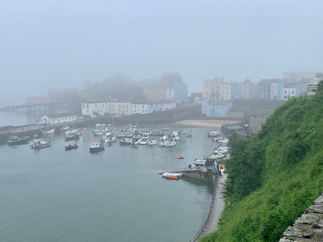 View of Tenby harbour in the fog