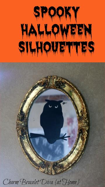 spooky Halloween silhouettes owl vintage gold mirror