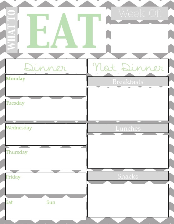 Meal Planning Chart with Free Printable {Guest Post}