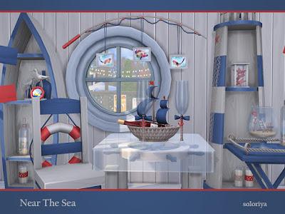 Near The Sea Возле моря для The Sims 4 Прибрежный комплекс с 17 предметами и в двух цветовых палитрах. Каждый объект имеет 2-5 цветовых вариаций. Предметы в наборе: - два стеллажа - обеденный стол - Обеденный стул - тумбочка - торшер - удочки настенные декоративные - двухэтажные декоративные предметы - перегородка - семь столовых декоративных предметов. Автор: soloriya