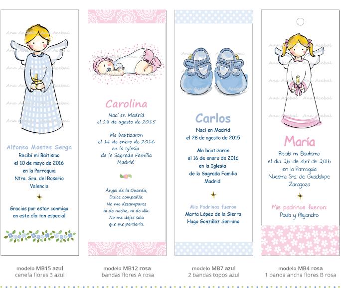 Recordatorios marcapaginas puntos libro Bautizo Nacimiento personalizados originales